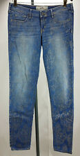 Hollister women gold print blue skinny jeans size W 29 L 31