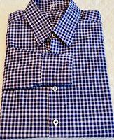 J. Hilburn White Blue Red Checked Button Down Collar Shirt Sz: L
