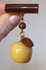 40s/50s French carved GALALITH PLASTIC DANGLING APPLE PIN torty & golden fruit