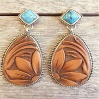 Vintage Women Turquoise Alloy Dangle Bohemian Ear Stud Earrings Wedding Jewelry