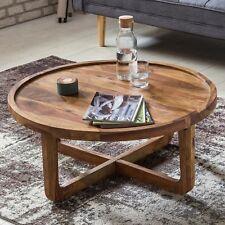 FineBuy Couchtisch Massiv-Holz rund 85cm Wohnzimmer-Tisch Landhaus Beistelltisch