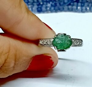 Natural Antique Emerald Ring 925 Sterling Silver Ring Pave Diamond Jewelry Rings