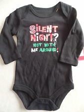 NEW baby boys girls unisex CHRISTMAS ROMPER OUTFIT black snap shirt 3-6 MONTHS