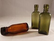 Vintage Green and Brown Coloured Glass Medicine Bottles - Set of 3