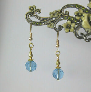 Pretty Light Blue Aqua Crystal and Gold Plated Beads Short Drop Dangly Earrings