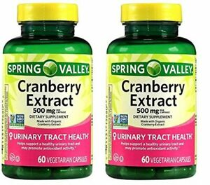 Spring Valley Cranberry Extract, 60 count, 500 mg per Capsule (Pack of 2)