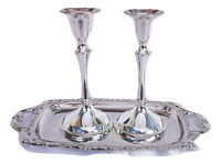 New Candlestick Candle Holder&tray Shabbat Jewish judaica israel silver color