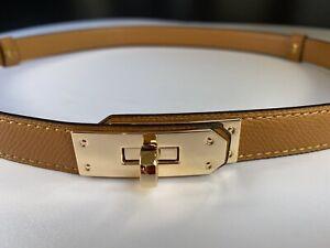 Tan Genuine Epsom Leather thin Belt With Gold tone twist close hardware