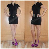 melrose Stretchkleid schwarz Minikleid mit Gürtel Sommerkleid Businesskleid