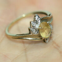 Estate Vtg 10K Solid Gold Gemstone 0.76 CT Oval Citrine Diamond Accent Ring Sz 7