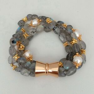 "Natural 4 Strands Labradorite Cultured White Rice Pearl Bracelet 8.5"""