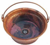 Rustic Bronze Patina Copper Vessel Bathroom Hinged Handle Sink Restroom Remodel
