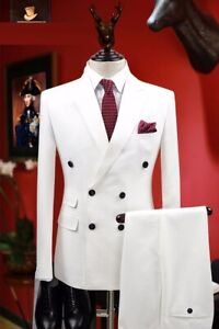 White Men Suits Double Breasted Groom Tuxedo Formal Wedding Party Prom Suit