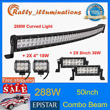 """Curved 50inch 288W LED Light Bar+2X 4"""" 18W Cube Pods+2X 8"""" 36W Offroad Lamp SUV"""
