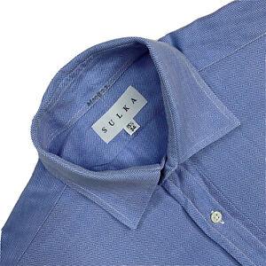 VTG 15.5 / 34 SULKA  Blue Mini Herringbone Cotton Button Up Shirt Made USA