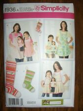 Aprons New Simplicity 1936 Pattern American Girl Doll Mother/Daughter