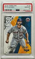 2019 Topps Fire Pete Alonso Base RC PSA 10 GEM MINT Mets Rookie Card #128