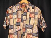 Tori Richard Shirt Sz M Brown Tan Black Tropical Leaves Tapa Hawaiian Camp Aloha