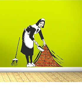Banksy style Swept Up Maid Wall Art Sticker Vinyl Decal Transfer