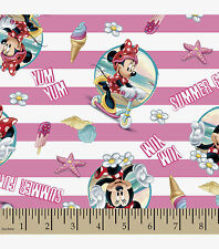 DISNEY MINNIE MOUSE STRIPED BEACH SCENE 100% COTTON FABRIC BY THE 1/2  YARD