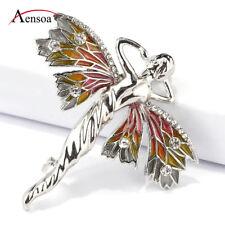 Fashion Women Enamel Crystal Dragonfly Fairy Elf Angel Brooch Pins Accessories