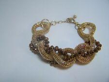 Bracelet Gold Tone Mesh Coil Twist Copper Beads Sofia 7 – 9 inch wrist Statement