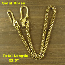 Solid Brass Bag Wallet Chain key chain + Skull Hook Fob Keychains (Snake Chain)