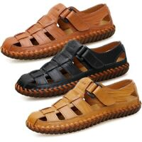 Men's Leather Sports Sandals Waterproof Shoes Fisherman Beach Summer Close Toe