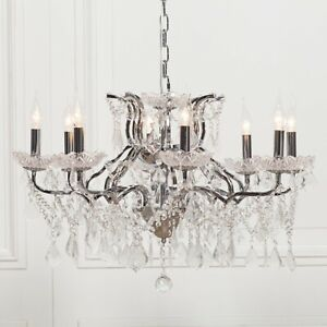 French Style Chic 8 Arm Branch Chrome Shallow Cut Glass Chandelier