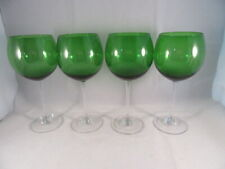 4 Emerald Forest Green Crystal Balloon Wine Goblets Glasses Clear Stem 8 1/2""