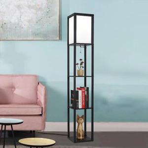 Modern bedside Bookshelf storage floor lamp soft lights room home decor reading