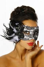 12305 Sexy Maschera del Mistero in Pizzo Decorata con Paillettes Fiori e Piume