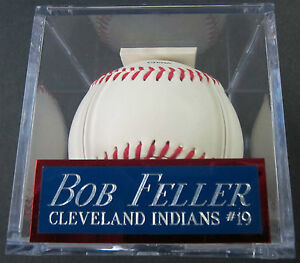 BOB FELLER INDIANS NAMEPLATE FOR AUTOGRAPHED SIGNED Baseball Display CUBE CASE