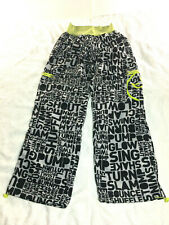Zumba Women's Roll Up Cargo Workout Dance-Yoga Pants Black&White Elastic Waist L