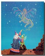 Magical Wizard Dragon Mythical Fantasy Kids Room Wall Decor Art Print (16x20)