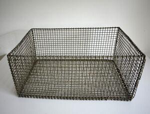 Vintage metal basket - antique wire - utensils storage