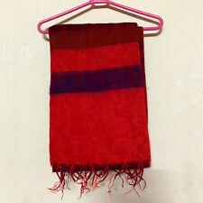 Red Blue Yak Wool Shawl Scarf Wrap Tibetan Nepalese Handmade Nepal YS02
