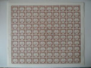HONG KONG PD 1c SGD1a ordinary paper (1953) full sheet of 100 Very fresh rare