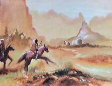 Vintage Oil painting by Barnes, Western Americana Art