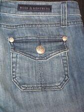 Rock & Republic Edie Jeans Low Flare Flap Pocs Sz 27