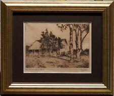 Australian Artist Stork Exquisite Original Etching Old Australian Farm