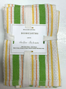 "Williams Sonoma Green & Yellow Classic Striped Dish Cloths S/4 (15"" sq)."