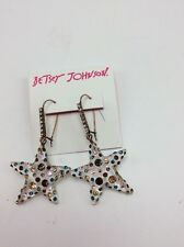 $45 Betsey Johnson Gold-Tone Confetti Lucite Star Drop Earrings B-132