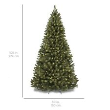 9ft Pre-Lit Spruce Hinged Artificial Christmas Tree w/ 1000 lights
