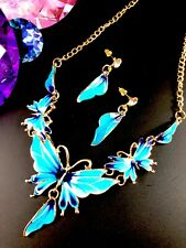FABULOUS GOLD-TONE SHADES OF BLUE ENAMEL BUTTERFLYDESIGN NECKLACE EARRINGS SET