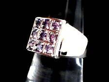 ON SALE! Hand Crafted Amethyst Rounds set in a 18 Karat White Gold Filled Size 7