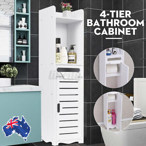❤4-Tier Bathroom Toilet Storage Cabinet Laundry Cupboard Assorted Shelf Drawer