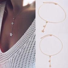 Fashion Women Simple Necklace Jewelry Long Pendant Gold Star Choker Chain Boho
