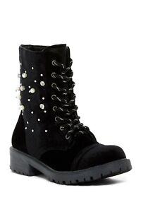 Madden Girl Rex Black Velvet Embellished Lace Up Combat Boots Size 6