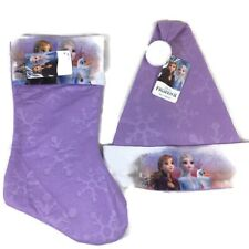 Disney FROZEN II Holiday Set Stocking & Hat Elsa Anna Olaf Purple Snowflake New